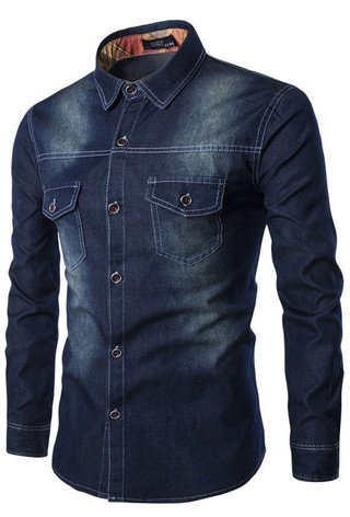 Shirt in Jean Classic with Details - Cowboy Style - in Dark Blue, Light Blue and Blue