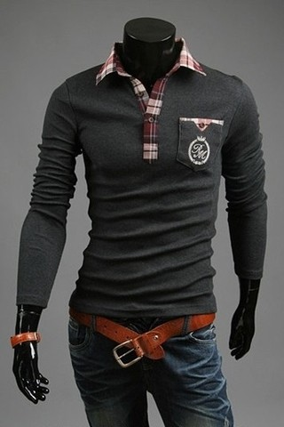 Long-sleeved Polo Shirt Fashion - Detail - in Gray, White and Black