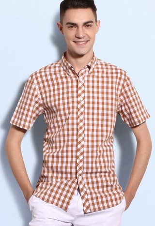 Shirt Short Sleeve Plus Size Casual Checked - Youth - Orange