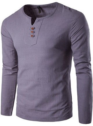 Modern Casual Linen Shirt - Round Neck - in 7 Colors