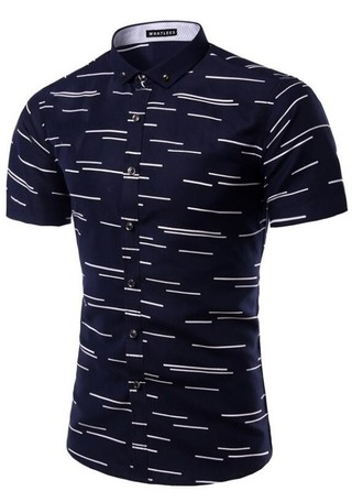 Stylish and Youth Short Sleeve Fashion Shirt - Striped Detail - in Dark Blue and White