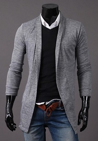 Cardigan Fashion Suelto Liso - Gris