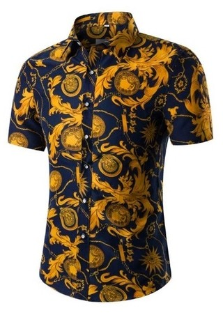 New Edge Short Sleeve Shirt - Floral - Gold