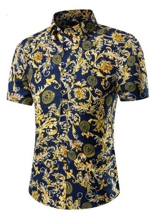 New Edge Short Sleeve Shirt - Retro Floral Gold - Dark Blue