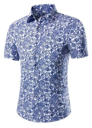 New Edge Floral Short Sleeve Shirt - Light Blue
