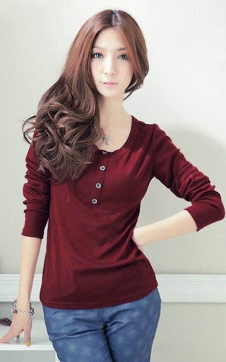 Casual Blouse Young Neckline Round - Red