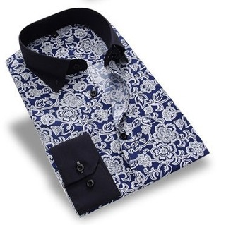 Plus Size Casual Shirt Modern Printing - Big Floral - Blue