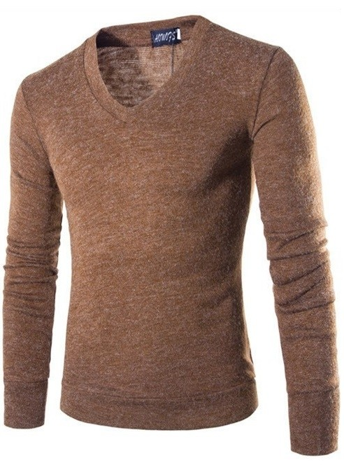 Sweater Fashion Suave para Primavera - Cuello en V - Cafe