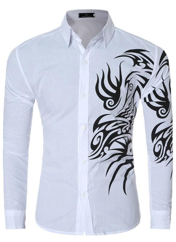 d230f53b533fd ... Camisa Jovem com Desenho Tribal Moderno - Cores Sólidos - em 7 Cores -  Camisas de ...