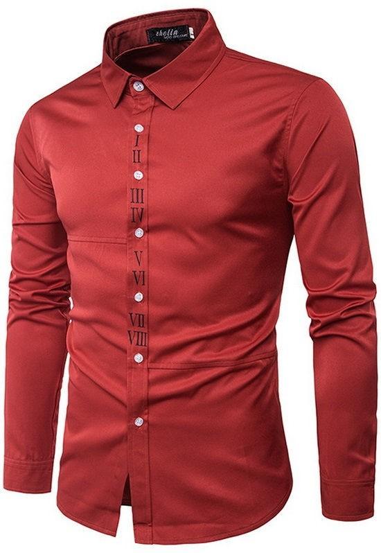 Camisa Elegante Lisa - Roman Number - en Rojo, Blanco y Azul