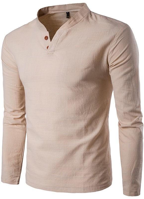aa7ba0d4a0 ... Camisa de Lino Casual - Cuello Mandarín - en 6 Colores - Camisas de  Hombre  ...