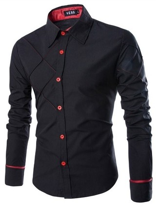 Shirt Casual Fashion - Stylish Modern Design - Black, Red and WHite
