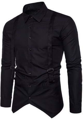 New Fashion Shirt - Elegant Design with Suspenders - in Black and White