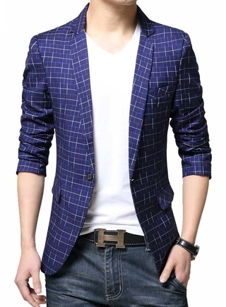 Blazer Fashion Young Chekered - A Button - in Blue and Black