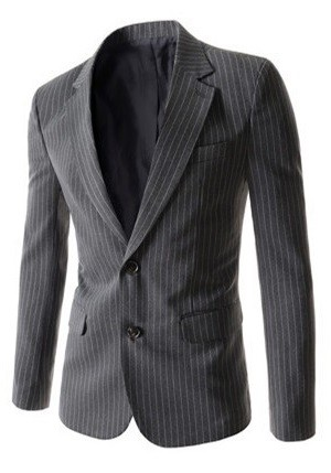 Elegant Fashion Striped Blazer - Two Buttons - in Gray, Blue and Black