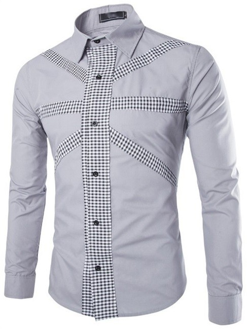 Camisa Casual Fashion Color Solido - Diseño Frontal Moderno a Cuadros - en 4 Colores en internet