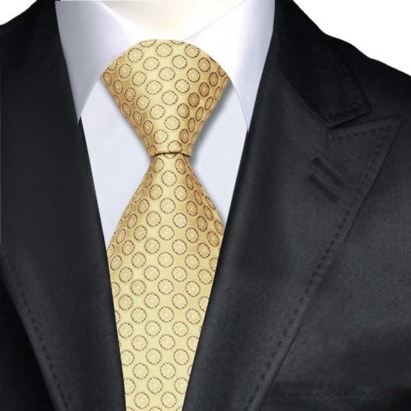 Corbata cl sica j v elegante puntos florales dorada for Disenos de corbatas