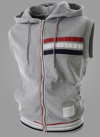 Modern Sports Vest with Hood - Gray