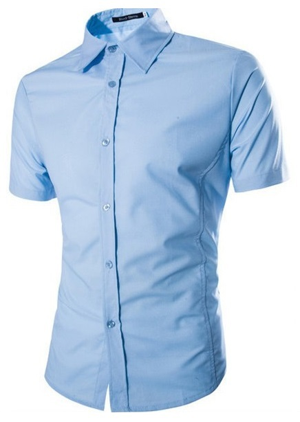 Camisa Casual Fashion Manga Corta - Color Solido - Azul
