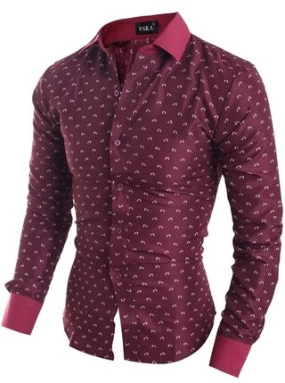 Elegant Modern Dress Shirt with Fashion Print - in Wine, White and Dark Blue