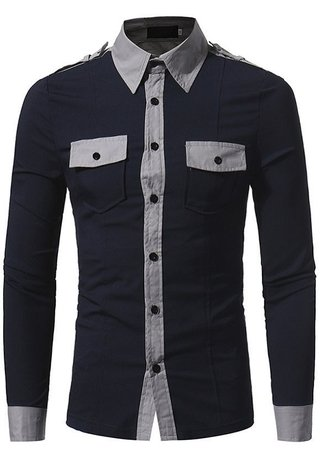 Fashion Style Military Shirts - Solid Color - Dark Blue