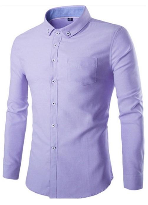 5e1ef0a5be437 Camisa Casual Elegante Lisa - Tonos Claros - en 4 Colores - Camisas de  Hombre  ...