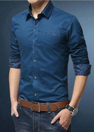 Casual / Social Shirt Solid Color - with Elegant Details - in 5 Colors