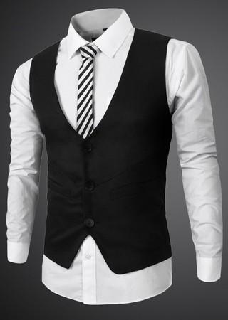 y Negro Tres Elegante Bolsillos Gris en Botones Chaleco Moderno Blanco con qzIwaw8Z