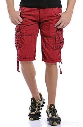 Shorts Youth Fashion Military Style - with Details - in Red, Blue and Green