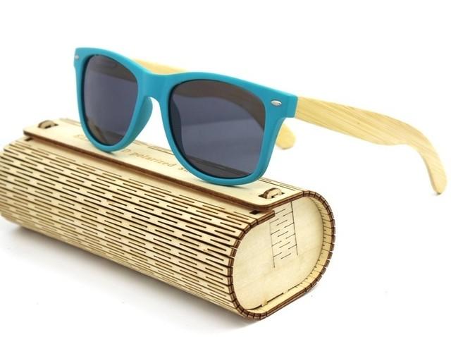 893c557f99 Gafas de Sol Vintage en Fibra de Bambú - Borde Frontal Azul - Lentes en 8  Colores
