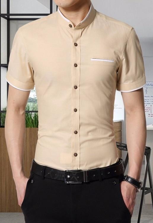 7eeb8fb27 ... Camisa Fashion Manga Corta Elegante - Cuello Mandarin - en 6 Colores -  Camisas de Hombre ...