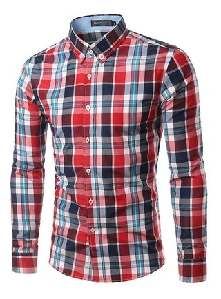 Youth Fashion Checkered Shirt - Neck Modern Style - in 12 Colors