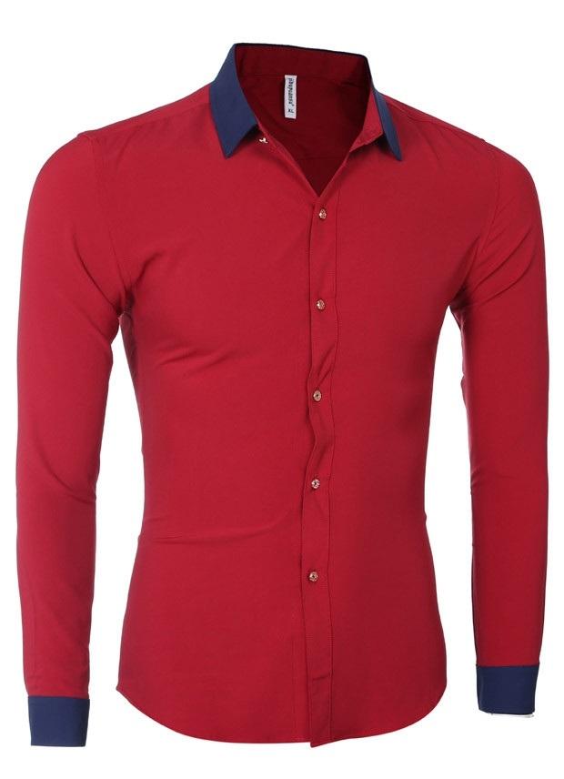 29f8d6a629d2f Camisa Casual Social con Detalle en Contraste - Botones Elegantes - en  Rojo