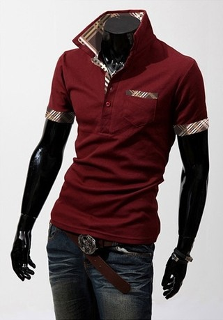 Youth Fashion Polo Shirt - Detail Brown Checked - in Wine, White and Black