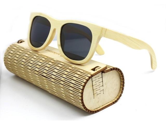 85730a434a ... Gafas de Sol Vintage en Fibra de Bambú - Armazón Claro - Lentes en 5  Colores ...