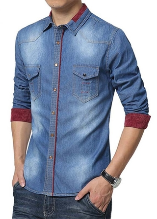 Jean Fashion Shirt - with Details on Wine - in Blue, Dark Blue and Light Blue