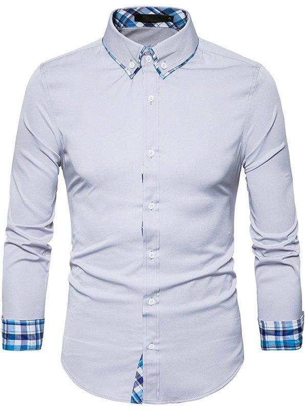 Camisa elegante de estilo cl sico con detalles a cuadros for Cuadros estilo clasico