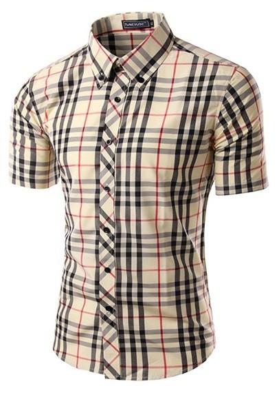 16 En Corta Camisa Escocés Estilo Manga Casual Combinaciones 1WWqYX