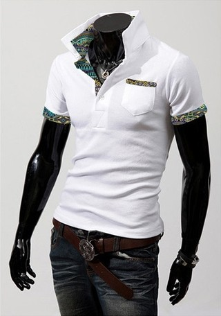 Youth Fashion Polo Shirt - Detail Colorful - White, Wine and Black