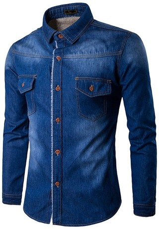 Shirt in Jean Classic with Details - Workwear Style - in Dark Blue and Blue
