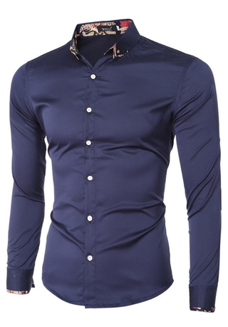 Elegant Shirt Modern Floral Detail in Neck - Shine Style - in Dark Blue and White