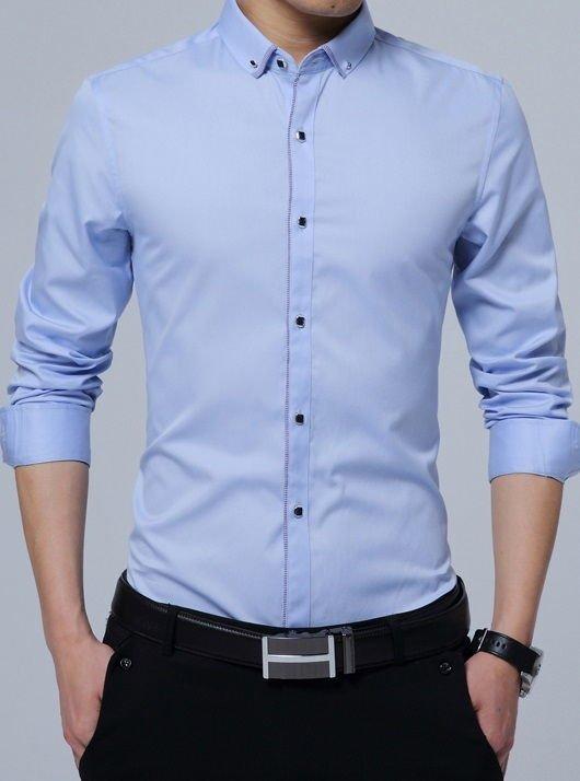 Camisa De Vestir Elegante Detalles A Cuadros Botones Modernos En 6 Colores
