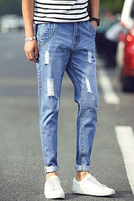 Jeans Juvenil Rasgado Fashion Slim Fit - Azul Claro