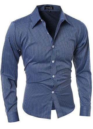 Modern Striped Shirt - Classic and Elegant Style - in Blue and Gray