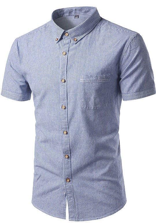 93d57c510d8 Camisa Clásica Manga Corta a Rayas - Tonos Claros - en 4 Colores - Camisas  de ...