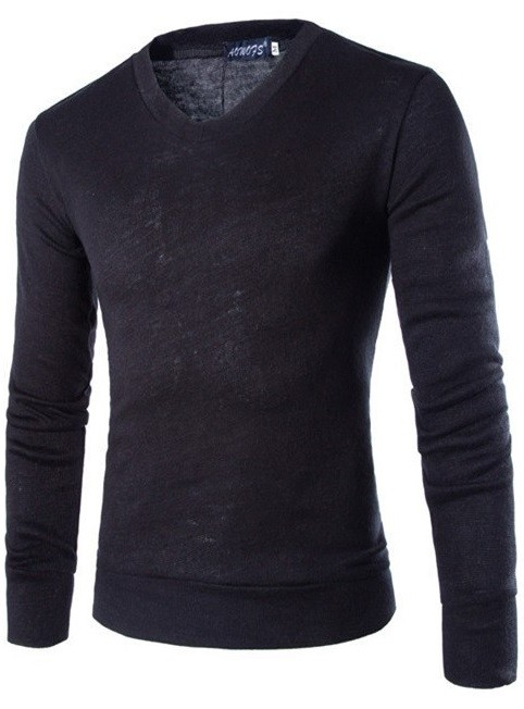 Sweater Fashion Suave para Primavera - Cuello en V - Negro