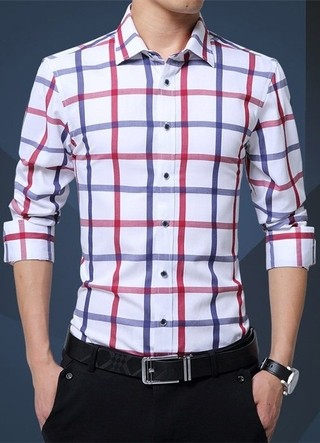 Elegant and Sophisticated shirt Youth Style Checkered - in White and Blue