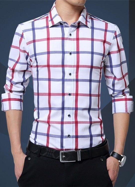 a430e592c3 Camisa Elegante y Sofisticada de Estilo Juvenil a Cuadros - en Blanco y Azul