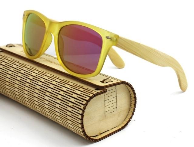 b7acb1049f En Frontal De Fibra Borde Vintage Bambú Amarillo Gafas Sol mn0wvN8