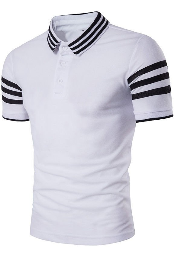 cc5aba38af76a Camisa Polo Fashion en Algodón - Cuello y Mangas a Rayas - en Blanco ...